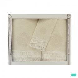 toallas con puntilla beige